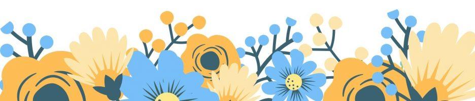 Оранжевый и Синий Цветочный Каллиг